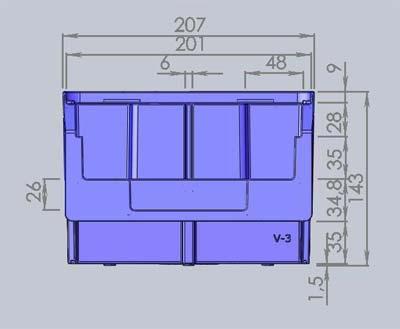 Размеры ящика V-3